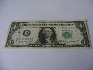 1963 A $1 (kennedy Dollar) Uncirculated Federal Reserve Note B 15532054 G photo