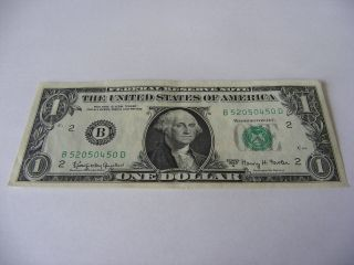 1963 A $1 (kennedy Dollar) Uncirculated Federal Reserve Note B 52050450 D photo