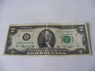 1976 $2 Uncirculated Federal Reserve Note B 21174674 A Green Seal photo