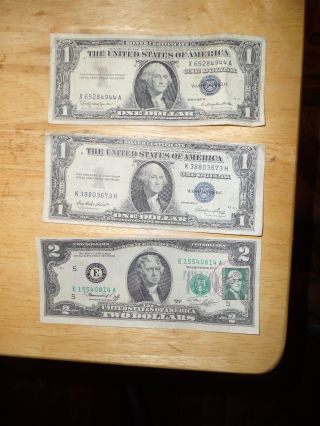 1976 $2 Bill,  First Day Issue With Jefferson Stamp + Silver Certificates photo