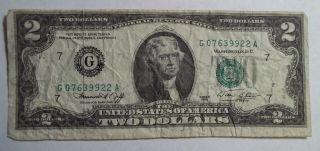 1976 G Two Dollar Bill,  $2 Chicago Green Seal,  Cut Slightly Off Center photo