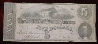 1862 $5 Confederate States Of America T - 53 Printed On Pink Paper Vf photo