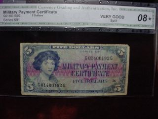 Military Payment Certificate $5 Series 591 Scarce Note Cga Very Good - 08 photo