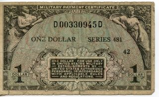 Us Mpc Military Payment Certificate Series 481 $1.  00 42 D00330945d Has A Tear. photo