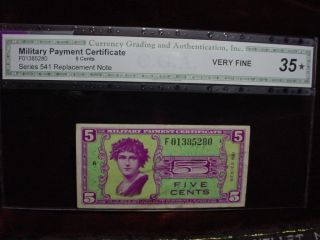 Military Payment Certificate 5 Cents Series 541,  Replacement Note Cga Vf35 photo