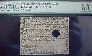 May,  5 1780 Massachusetts $2 Dollars Fr - Ma - 279 Pmg About Uncirculated 53 photo