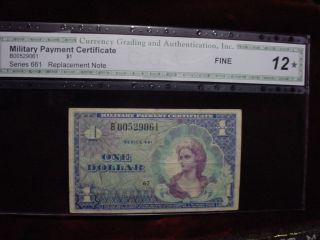 Military Payment Certificate $1 Series 661,  Replacement Note Cga Fine - 12 photo