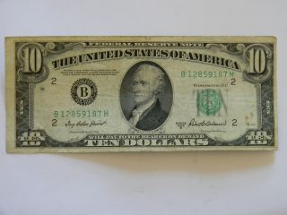 1950b Ten Dollar ($10.  00) Federal Reserve B Series Note With Miscut Border photo