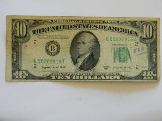 1950c Ten Dollar ($10.  00) Federal Reserve B Series Note With Low Low Serial photo