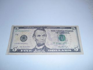 $5.  00 Federal Reserve Note 2006,  W/star If 01461973 - - Vf/ef - photo
