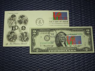 1976 $2 Dollar Bill First Day Of Issue Valentine`s Day Stamped With A Cachet photo