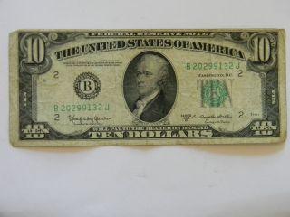 1950d Ten Dollar ($10.  00) Federal Reserve B Series Note photo