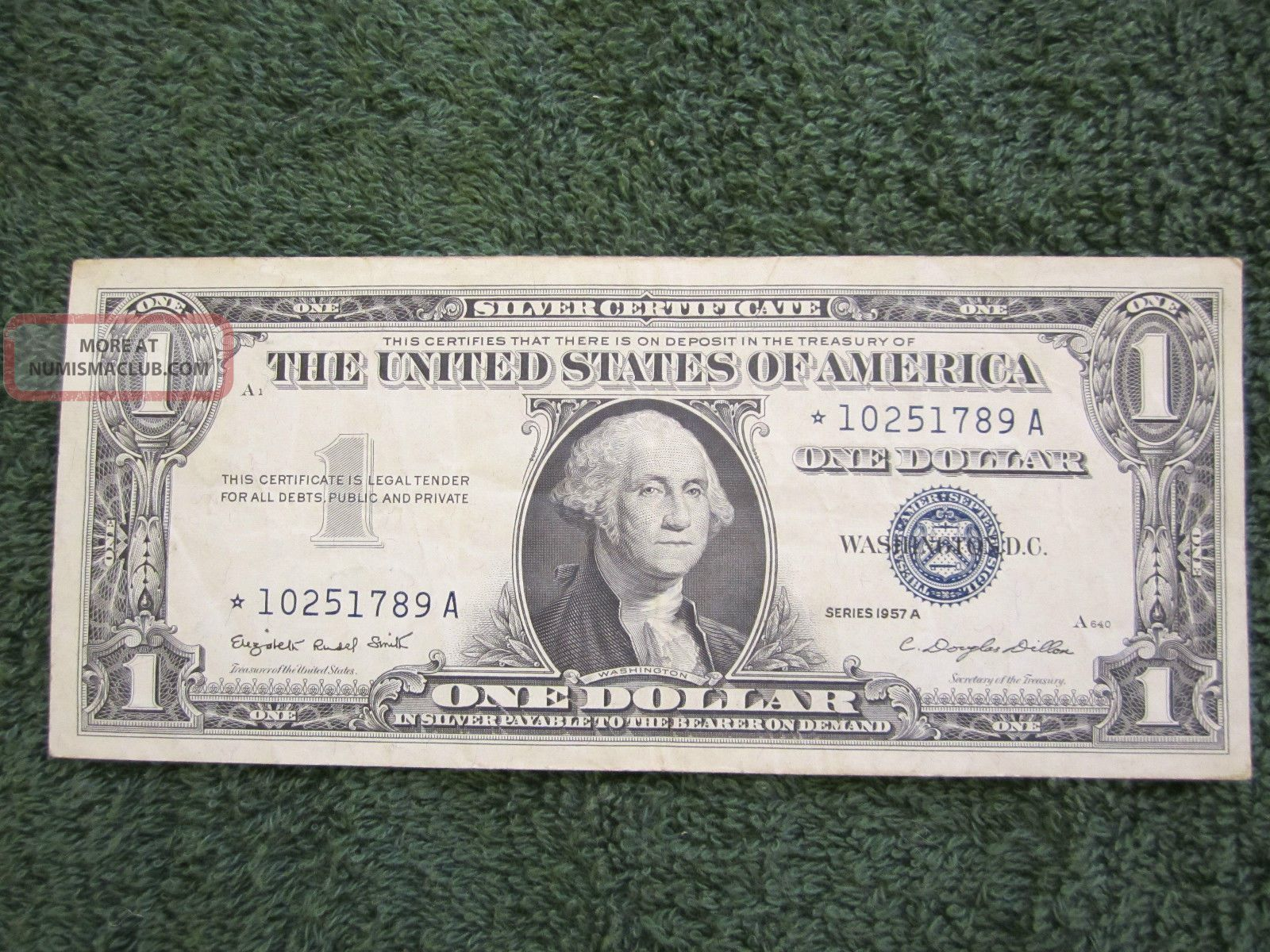 Silver Certificate Blue Seal One Dollar 1957 A Star Note