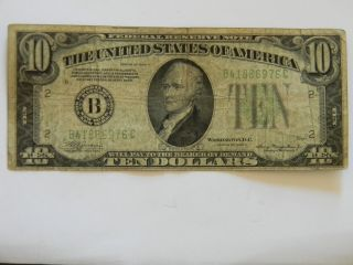1934a Ten Dollar ($10.  00) Federal Reserve B Series Note photo