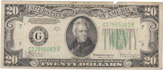 1934 C Twenty Dollar Bill In Circulated photo