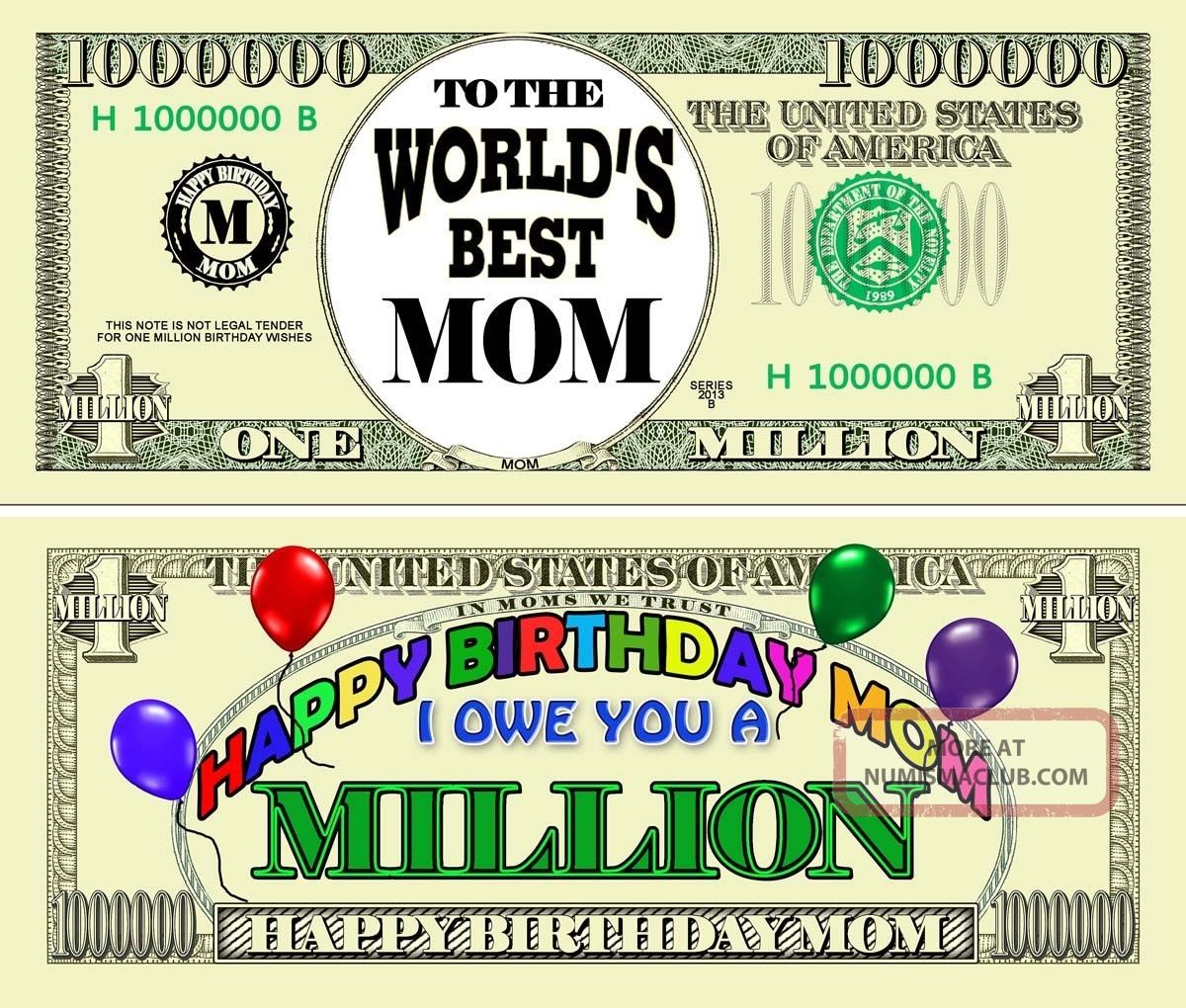 Happy Birthday Mom Million Dollar Bill Gifts Greeting Cards Parties