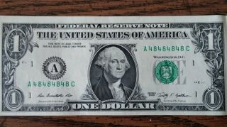 Dollar Bill Repeating Serial Number Wow Fancy Bank Note photo
