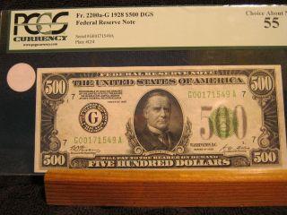 Ac 1928 $500 Five Hundred Dollar Bill Chicago Pcgs 55 photo