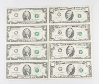 Two Sheets Of Four (4) Uncut Bills: 2003 $10 Star Notes And 2003 $2 Notes photo