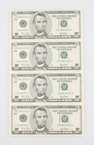 Sheets Of Four (4) Uncut 2001 $5 Bills In Laminate W/ Vinyl Folder photo