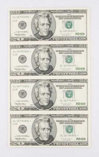 Sheets Of Four (4) Uncut 1998 $20 Star Notes In Laminate W/ Vinyl Folder photo