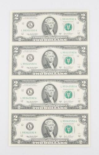 Sheets Of Four (4) Uncut 2003 $2 Bills In Laminate W/ Vinyl Folder photo