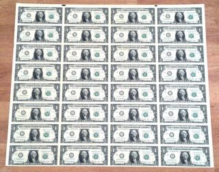 Uncut Sheet Of 32 - $1 Bills Notes Dollars Money Currency Unc Great Gift photo