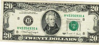 1990 $20 Federal Reserve Note St.  Louis Missouri H45356930a photo