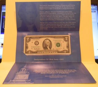 1995 $2 Federal Reserve Star Note - Independence Presentation Folder From The Bep photo