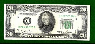 1950 Uncirculated Federal Reserve Twenty Dollar Note photo
