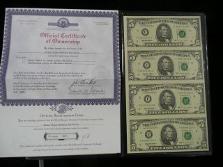 Uncut Sheet Of Four $5 Dollar Series 1995 Federal Reserve Notes Uncirculated photo
