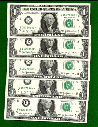 5 1977 Consecutive & Uncirculated Federal Reserve One Dollar