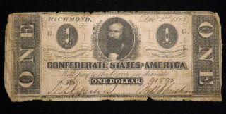 1862 $1 Dollar Confederate Paper Note Very Circulated Civil War Era photo