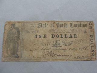 1861 State Of North Carolina $1 Bill Confederate Currency 849 photo