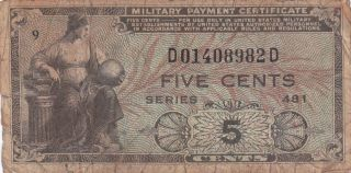 U.  S.  Military Payment Certificate,  Series 481,  5 Cents,  1951 - 1954 Issue photo