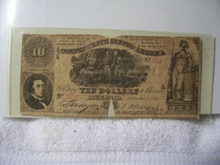 Authentic Obsolete Confederate $10 T30 239 Note Currency 1861 A Rarity 5 photo