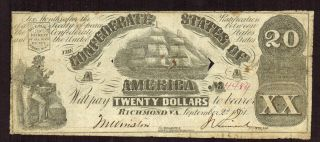 Cs - 18 $20 1861 The Confederate States Of America More Currency 4 Ol photo