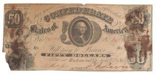 T - 8 1861 $50 Confederate States Of America Civil War Fifty Plate B photo