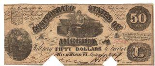 $50 1861 T - 14 Moneta & Chest Csa Richmond Va Old Confederate Paper Currency Bill photo