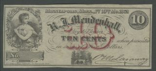 Rare Minnesota 10 Cents Obsolete Note Mendenhall Great Margins And Crisp Perfect photo