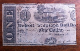1840 Detroit - St Joseph Rail Road Michigan $1 Us Banknote Currency photo