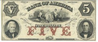 Obsolete Currency Tennessee Bank Of America $5 18xx G136 Unissued Plate C photo