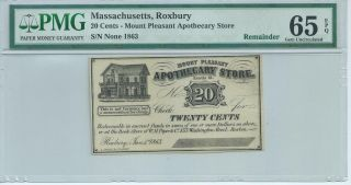 Massachusetts Roxbury 1863 20 Cents Not Signed Or Issued Pmg65epq Mt.  Pleasant photo