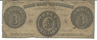 Knoxville Bank Of East Tennessee $3 Bank Note Obsolete Currency 1855 Plate A photo