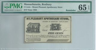 Massachusetts Roxbury 1863 5 Cents Not Signed Or Issued Pmg65epq Mt.  Pleasant photo
