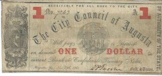 Obsolete Currency Georgia/augusta City Council Issued $1 1861 Fine 7263 photo