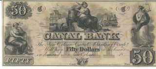 Obsolete Currency Louisiana Canal Bank/n.  O.  Unissued $50 18xx Chcu G48a Old C photo