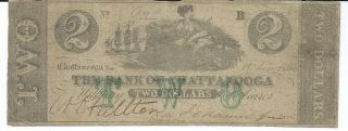 Obsolete Currency Tennessee Chattanooga Bank $2 1861 Green Overprint Low 92 photo