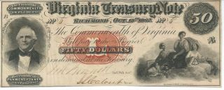 Obsolete Currency Virginia Treasury Note $50 1862 Cr7 Issued Csa T17 Au 6 photo