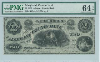 Obsolete Currency Maryland/cumberland/ Allegany County Bank$2 1861 Pmg64 974 photo